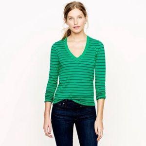 J.Crew Green Striped V Neck Cotton Sweater